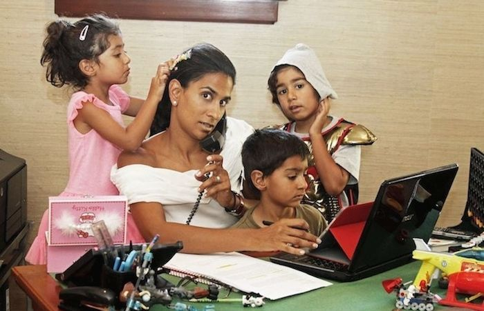The lawyer and founder Janvi Patel with her three children